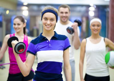 sporty people in gym